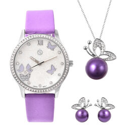 3 Piece Set - Simulated Diamond, Purple Shell Pearl and White Austrian Crystal Butterfly Watch with