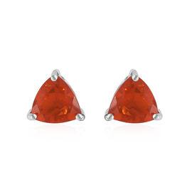 ILIANA 18K White Gold AAAA Jalisco Fire Opal (Trl) Stud Earrings (with Screw Back) 1.200 Ct