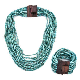 2 Piece Set - Turquoise Colour Beads Multi Strand Necklace (Size 20) and Bracelet (Size 7.5) with Wo