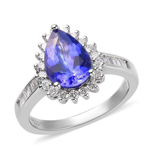 RHAPSODY 2.50 Ct AAAA Tanzanite and Diamond Halo Ring in 950 Platinum VS EF