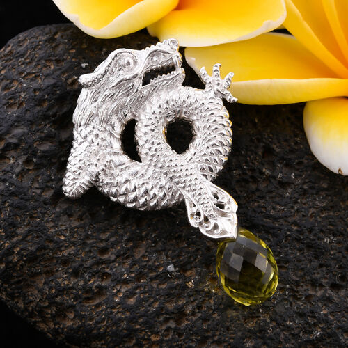 Royal Bali Collection - Hebei Peridot Dragon Pendnat in Sterling Silver 5.60 Ct, Silver wt 6.75 Gms