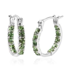 J Francis Peridot Colour Crystal from Swarovski Hoop Earrings in Sterling Silver