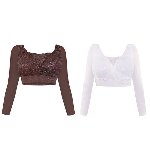 DOD - 2 Piece Set- SANKOM SWITZERLAND Patent Classic Bra with Full Lace Cover (Size L) Including Taupe and White Colour