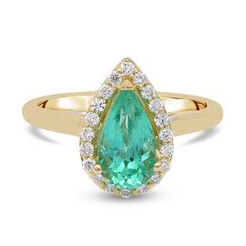 ILIANA 18K Yellow Gold AAA Boyaca Colombian Emerald (Pear 10.3x5.67mm), Diamond (SI/G-H) Ring 2.05Ct