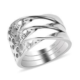 Set of 3 - RACHEL GALLEY Warp Collection- Rhodium Overlay Sterling Silver Ring, Silver Wt. 7.60 Gms