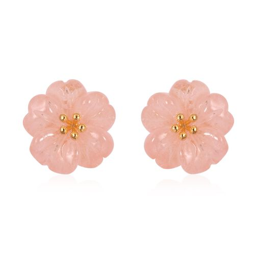 JARDIN COLLECTION - Hand Carved Flower Morganite Stud Earrings (with Push Back) in Yellow Gold Overlay Sterling Silver 9.250 Ct.