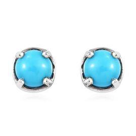 1 Carat Arizona Sleeping Beauty Turquoise Solitaire Stud Earrings in Platinum Plated Silver
