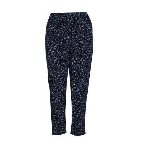 Pure and Natural Elasticated Tapered Printed Trousers in Navy (Size 10, L: 27 inches)