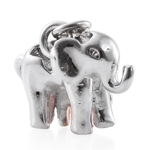 Baby and Mother Elephant 2 Tone Silver Pendant in Platinum and Rose Gold Overlay 3.96 Gms.