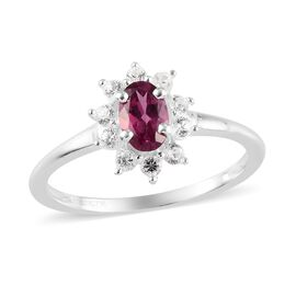 Orissa Rose Garnet and Natural Cambodian Zircon Ring in Sterling Silver
