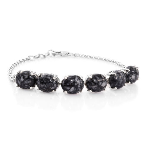 Austrian Pinolith (Ovl) Bracelet (Size 7.5 with Half Inch Extender) in Platinum Overlay Sterling Silver 22.250 Ct.