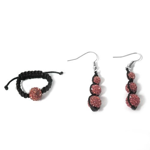 Pink Austrian Crystal Ring (Adjustable) and Earrings with Stainless Steel Hook