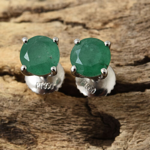 RHAPSODY 950 Platinum AAAA Kagem Zambian Emerald (Rnd 1.20 Ct) Stud Earrings (With Screw Back)