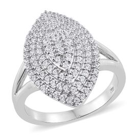 J Francis - Platinum Overlay Sterling Silver (Rnd) Leaf Ring Made with SWAROVSKI ZIRCONIA, Silver wt