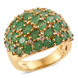 5.5 Ct Zambian Emerald and Cambodian Zircon Cluster Ring in Gold Plated Sterling Silver 7.5 Grams