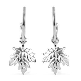 Maple Leaf J Hoop Earrings in Platinum Overlay Sterling Silver