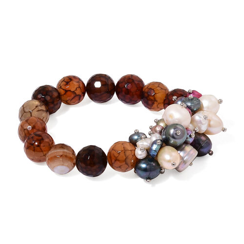 Smoky and Grey Agate and Fresh Water Multi Colour Pearl Stretchable Bracelet (Size 7.5) 235.000 Ct.