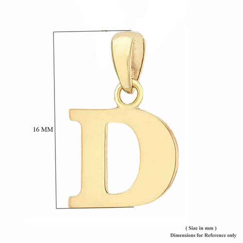 9K Yellow Gold Initial D Pendant