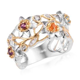 Rhodolite Garnet (Rnd), Swiss Blue Topaz, Jalisco Fire Opal and Multi Gemstone Floral Ring in Platin