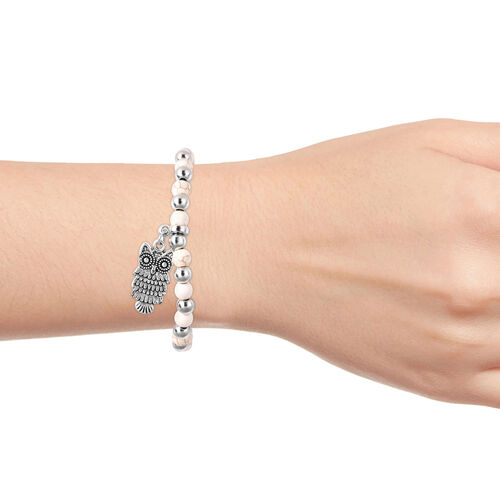White Howlite (Rnd), Stretchable Beads Bracelet (Size 7) with Owl Charm in Antique Silver Plated 30.00 Ct.