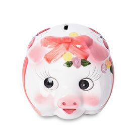 Ceramic Cute Piggy Coin Bank (Size 14x12 Cm) - Pink and White