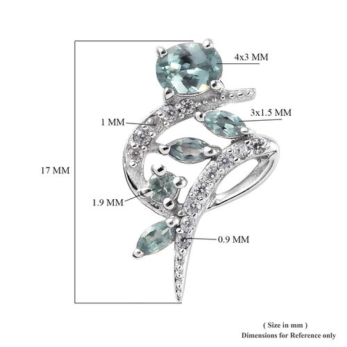 Alexandrite and Natural Cambodian Zircon Stud Earrings (with Push Back) in Platinum Overlay Sterling Silver 0.92 Ct.