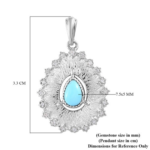 GP Italian Garden Leaf and Flower - Arizona Sleeping Beauty Turquoise, Natural Cambodian Zircon and Blue Sapphire Pendant in Platinum Overlay Sterling Silver