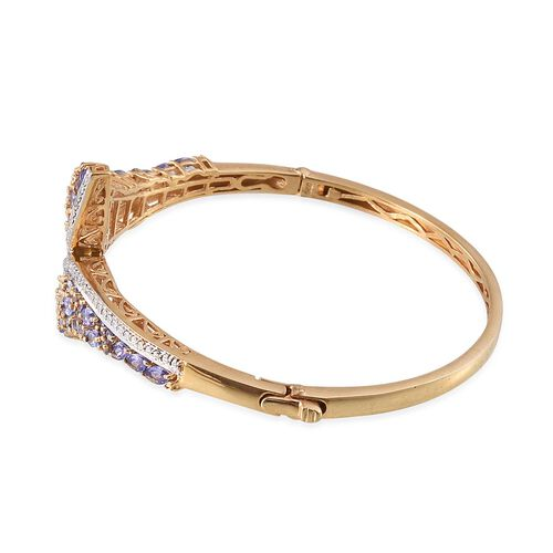 Tanzanite (Mrq), Simulated Diamond Bangle (Size 7.5) in 14K Gold Overlay Sterling Silver 5.750 Ct.