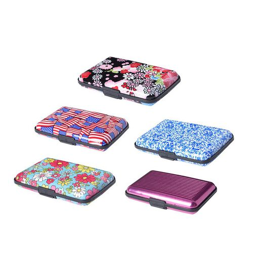 Set of 5 - RFID Blocker Card Holder (Size 11X7X2 Cm) - Purpl, Red and Blue, Black Turquoise Pattern