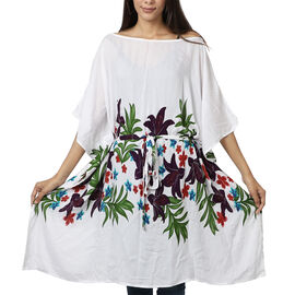 Floral printed Kaftan with Waist Belt (Size S to XXL 91x105cm)  - White