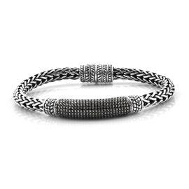 Limited Edition- Royal Bali Collection Boi Ploi Black Spinel (Rnd) Sterling Silver Tulang Naga Bracelet (Size 7.75) 5.680 Ct, Silver wt 38.98 Gms.