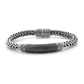 Limited Edition- Royal Bali Collection Boi Ploi Black Spinel (Rnd) Sterling Silver Tulang Naga Brace