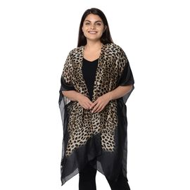 Yellow and Black Leopard Pattern Kimono (Size 83x90 Cm) - Black