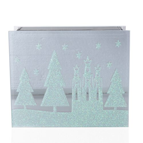 Home Decor Glass Table Decoration With Yellow Light Christmas Fairytale (Size 18x15x6 Cm) Silver Grey Colour