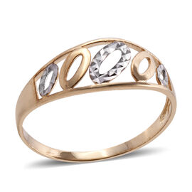 9K Yellow and White Gold Diamond Cut Ring Gold wt 1.10 Gms.
