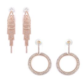 Set of 2 Pairs- Simulated Diamond (Sqr), White Austrian Crystal Earrings (with Push Back) in Gold Pl
