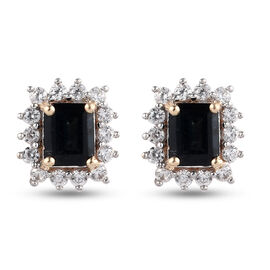 9K Yellow Gold AAA Indicolite and Natural Cambodian Zircon Stud Halo Earrings (With Push Back) 1.50
