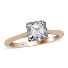 TJC Exclusive 9K Yellow Gold Very Rare Moissanite Asscher cut  Ring 1.34 Ct.
