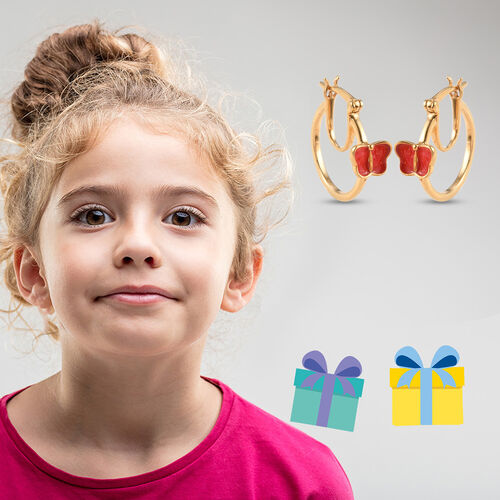 Butterfly Hoop Earrings for Kids in Gold Plated Silver