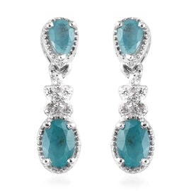 1.25 Ct Grandidierite and Zircon Dangle Earrings in Platinum Plated Sterling Silver