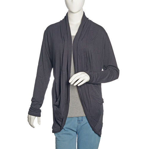 One Time Deal- Charcoal Black Colour Waterfall Pattern Cardigan (Free Size)