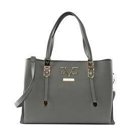 19V69 ITALIA by Alessandro Versace Litchi Pattern Handbag with Detachable Shoulder Strap and Zipper Closure (Size 33x11x22 Cm) - Grey