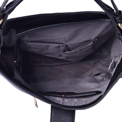 Black Large Tote Bag with External Zipper Pocket and Adjustable and Removable Shoulder Strap (Size 40x30x15 Cm)