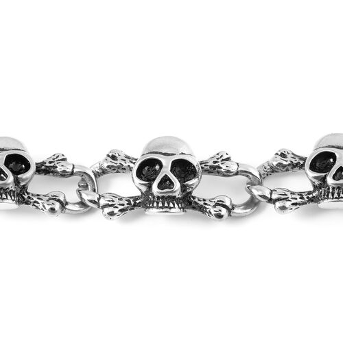 One Time Close Out Deal Stainless Steel Skull Link Bracelet (Size 8.5)