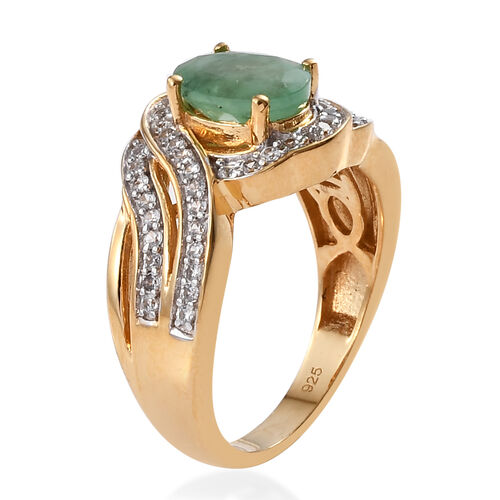 Kagem Zambian Emerald (Ovl 8x6 mm), Natural Cambodian Zircon Ring in 14K Gold Overlay Sterling Silver 1.800 Ct.