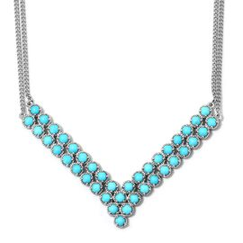 11 Ct Sleeping Beauty Turquoise V Necklace in Platinum Plated Sterling Silver 23.75 Grams 18 Inch