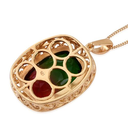 Bi-Color Tourmaline Quartz (Cush) Pendant with Chain in 14K Gold Overlay Sterling Silver 15.250 Ct.
