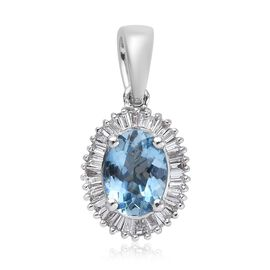 ILIANA 1 Carat AAA Santa Maria Aquamarine and Diamond Halo Pendant in 18K White Gold SI GH