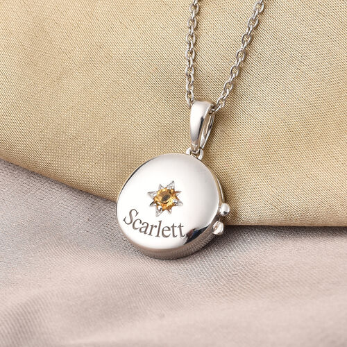 Personalise Engraved Name and Birthstone Round Locket with Chain in Silver