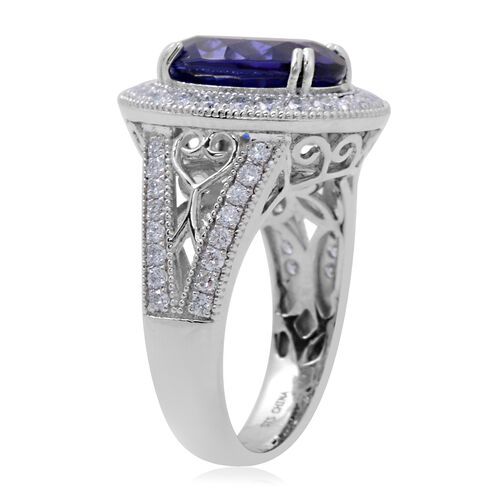 RHAPSODY 950 Platinum AAAA Tanzanite (Ovl 12x10 mm), Diamond (VS/E-F) Ring 6.11 Ct, Platinum wt 9.51 Gms